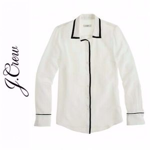 J. Crew Ivory Silk Tipped Boy Shirt
